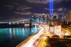 Manhattan at night Stock Photos