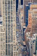 new york city manhattan street aerial view - stock photo
