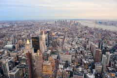 new york city manhattan downtown skyline - stock photo