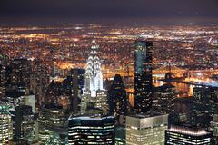 chrysler building in manhattan new york city at night - stock photo