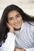 portrait teenage girl outdoors - stock photo