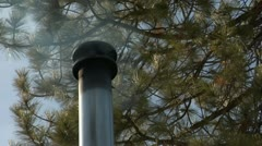 Smoking chimney on roof with pine trees Stock Footage