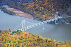 bear mountain bridge aerial view in autumn - stock photo