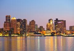boston downtown panorama at dusk - stock photo