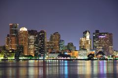 Stock Photo of boston downtown skyline at dusk