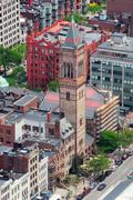 boston street aerial view - stock photo
