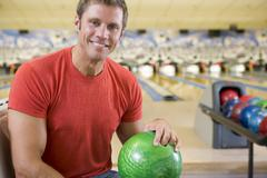 Man at a bowling lane - stock photo