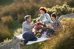 friends on country picnic - stock photo