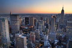 New york city manhattan skyline panorama sunset aerial view with. empire stat Stock Photos