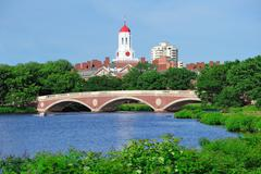 Harvard university campus in boston Stock Photos