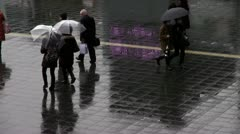 Rainy Day In Front Of Kyoto Station Stock Footage