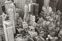 new york city manhattan skyline aerial view black and white - stock photo