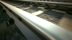 Ride over railroad track. Train transportation. Logistics industrial background. Stock Footage