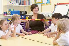 Teacher and students in math class with measuring stick - stock photo