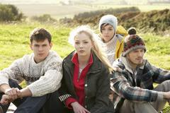 young couples in the country - stock photo