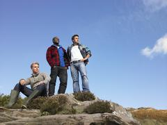 young men in the country - stock photo