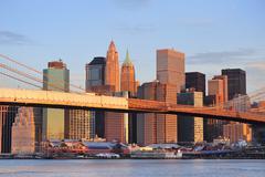 new york city brooklyn bridge - stock photo
