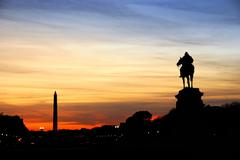 washington dc silhouette - stock photo