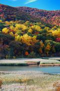 autumn mountain with lake - stock photo