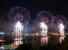 new york city manhattan fireworks - stock photo
