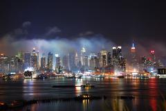 new york city manhattan after fireworks show - stock photo