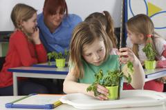 Girl learning about plants in school class Stock Photos