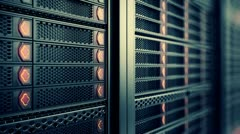 Stock Video Footage of Data network center servers. Cloud computing, e-commerce upload download data.