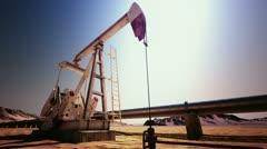 Oil Pump Jack rocking loopable Stock Footage