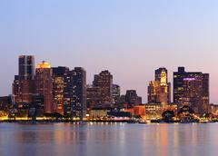 boston downtown skyline at dusk - stock photo
