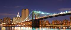 brooklyn bridge, new york city manhattan - stock photo
