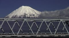 Stock Video Footage of Shinkansen And Mount Fuji
