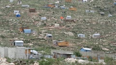 The scattered tin and wood shacks in Haiti Stock Footage