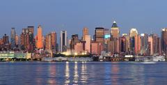 New york city manhattan over hudson river Stock Photos
