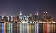 new york city manhattan midtown skyline at night - stock photo