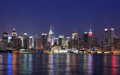 new york city manhattan at dusk - stock photo