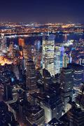 New york city aerial view at night Stock Photos