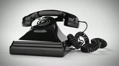 Oldschool telephone ringing. Hotline support vintage contact telecommunication - stock footage