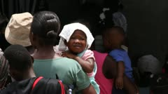Stock Video Footage of lines of people at vaccination clinic in Haiti