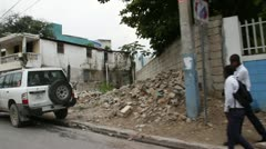 earthquake damage Street Port-au-Prince Haiti - stock footage