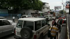busy street scene Port-au-Prince Haiti - stock footage