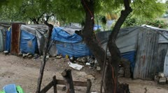 sheet metal and tarp homes Port-au-Prince Haiti - stock footage