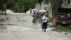 Neighborhood street scene Port-au-Prince Haiti Stock Footage