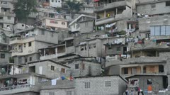 close-up of hillside neighborhood of Port-au-Prince Haiti - stock footage