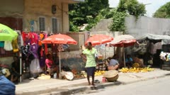 market vendors on Street Port-au-Prince Haiti - stock footage