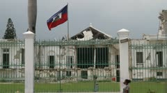 ruined capital building and flag Port-au-Prince Haiti - stock footage