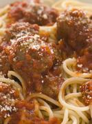 Spaghetti Meatballs sprinkled with Parmesan Cheese Stock Photos