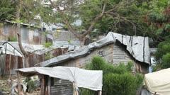 sheet metal and tarp homes Port-au-Prince Haiti - stock footage