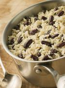 Rice and Beans in a Saucepan Stock Photos