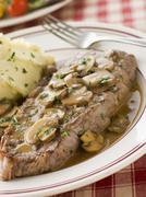 Steak Sirloin with Diane Sauce and Mash Potato - stock photo
