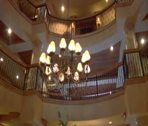lobby of enormous luxury hotel - stock footage